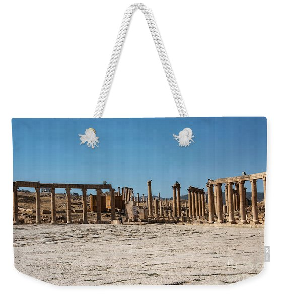 Weekender Tote Bag featuring the photograph Roman Ruins At Ajloun by Mae Wertz