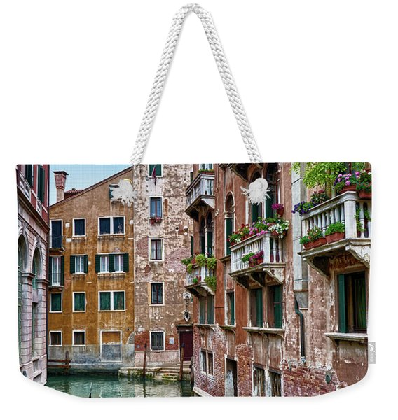 Gondola Ride Surrounded By Vintage Buildings In Venice, Italy Weekender Tote Bag