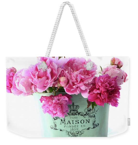 Paris Red Pink Peonies Maison Flowers Pink Book - French Aqua Pink Peonies Books Wall Decor Weekender Tote Bag