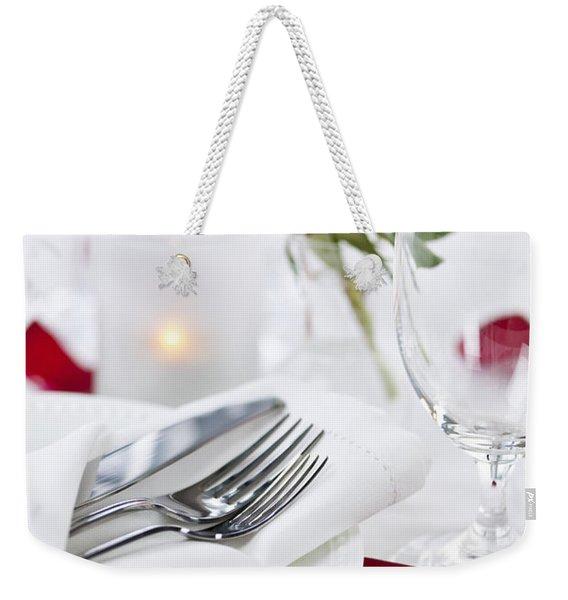 Romantic Dinner Setting With Rose Petals Weekender Tote Bag