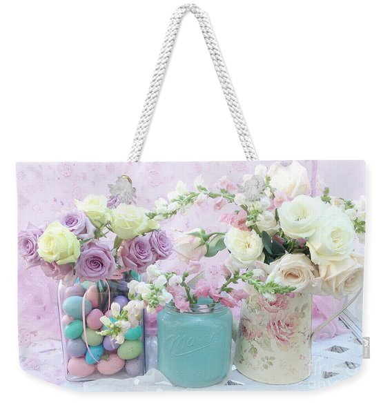 Shabby Chic Pastel Pink Lavender White Roses - Shabby Chic Roses Cottage Floral Print - Easter Weekender Tote Bag