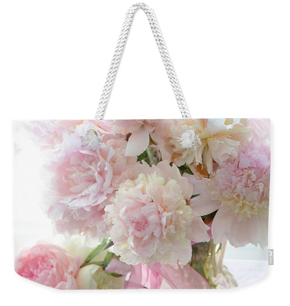 Shabby Chic Pink White Peonies - Shabby Chic Peonies Pastel Pink Dreamy Floral Wall Print Home Decor Weekender Tote Bag