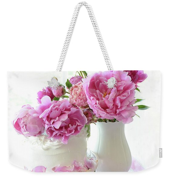Romantic Pink Peonies Peony Cake Decor - Shabby Chic Cottage Peony Wall Decor  Weekender Tote Bag