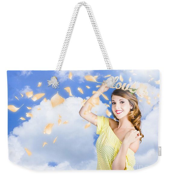 Romantic Woman Dreaming Of A Sky Filled Romance Weekender Tote Bag