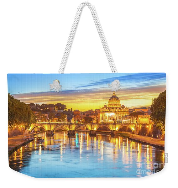 Weekender Tote Bag featuring the photograph Rome At Twilight by Benny Marty