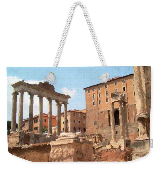 Weekender Tote Bag featuring the mixed media Rome The Eternal City And Temples by Rosario Piazza