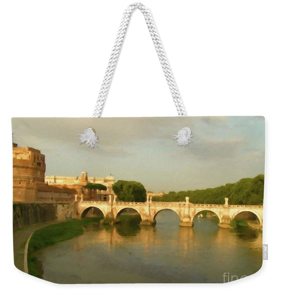 Weekender Tote Bag featuring the painting Rome The Eternal City And Tiber River by Rosario Piazza