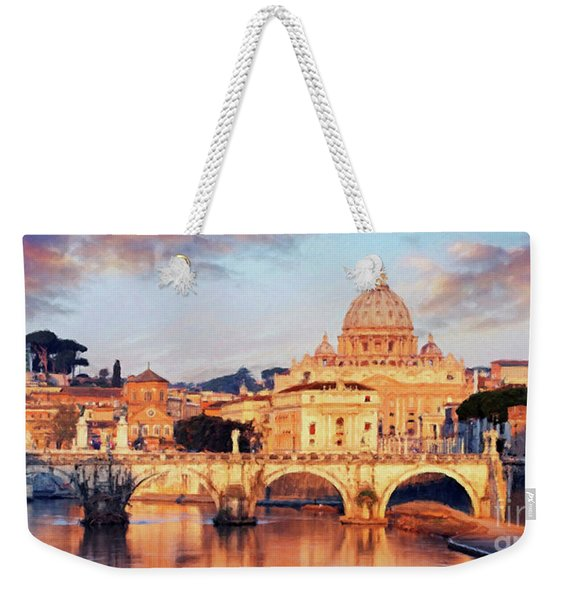Weekender Tote Bag featuring the mixed media Rome The Eternal City - Saint Peter From The Tiber by Rosario Piazza