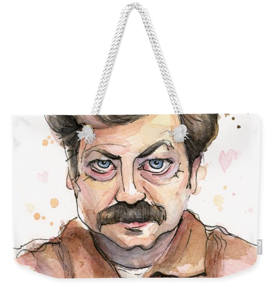 Ron Swanson Funny Love Portrait Weekender Tote Bag