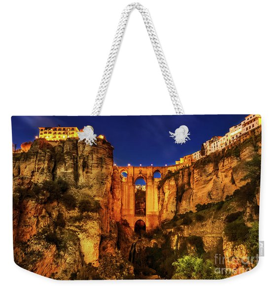 Weekender Tote Bag featuring the photograph Ronda By Night by Benny Marty