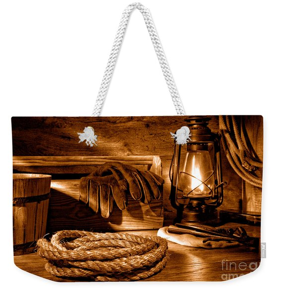 Rope And Tools In A Barn - Sepia Weekender Tote Bag