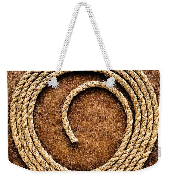 Rope On Leather Weekender Tote Bag