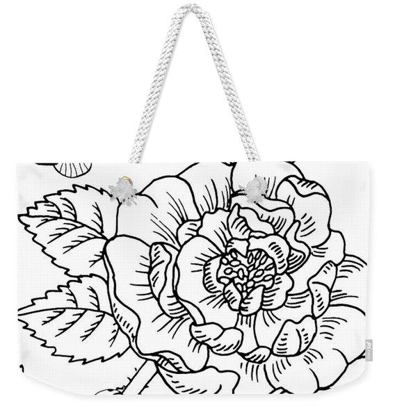 Rose And Butterflies Drawing Weekender Tote Bag