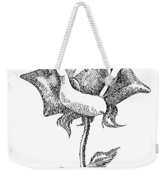 Rose Drawings Black-white 5 Weekender Tote Bag