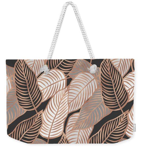 Rose Gold Jungle Leaves Weekender Tote Bag