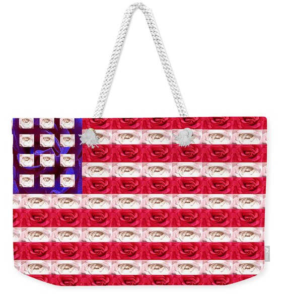 Rose White And Blue Weekender Tote Bag