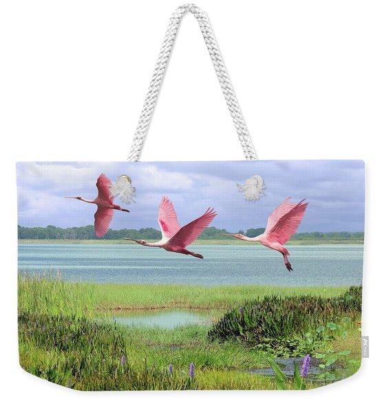 Roseate Spoonbills Of Florida Bay Weekender Tote Bag