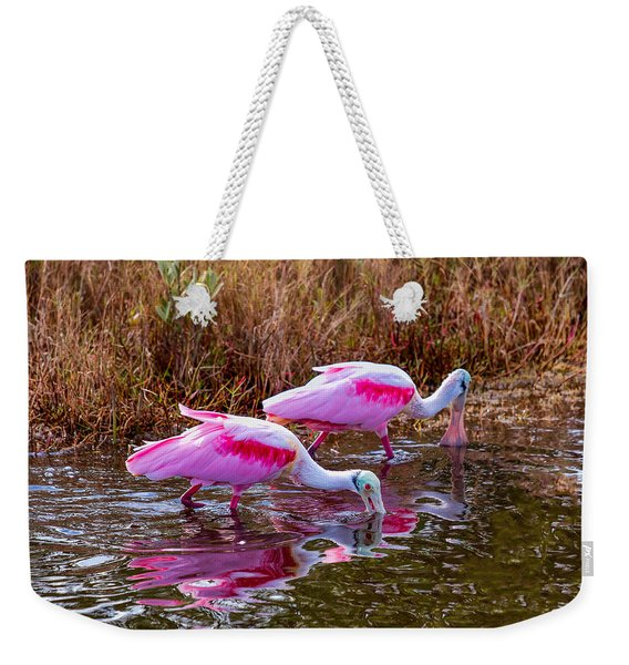 Roseate Spoonbills Swishing For Food Weekender Tote Bag