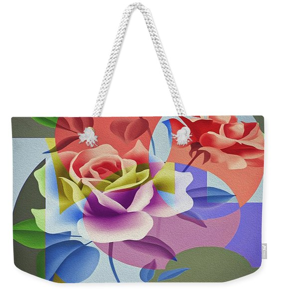 Weekender Tote Bag featuring the digital art Roses For Her by Eleni Mac Synodinos