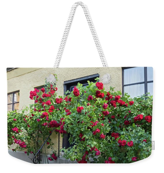Roses Growing Near The House In A Swedish Town Visby Weekender Tote Bag