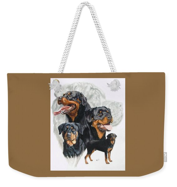 Weekender Tote Bag featuring the mixed media Rottweiler Medley by Barbara Keith