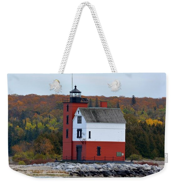 Round Island Lighthouse In October Weekender Tote Bag