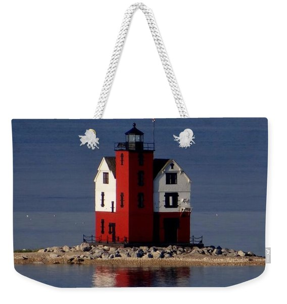 Round Island Lighthouse In The Morning Weekender Tote Bag