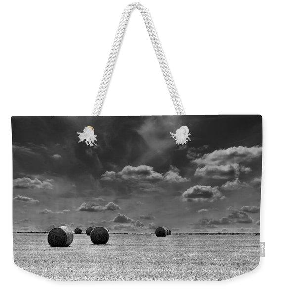 Round Straw Bales Landscape Weekender Tote Bag