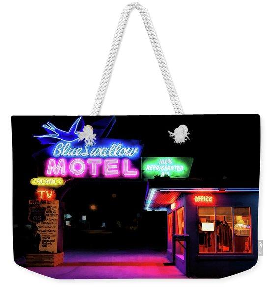 Route 66 Blue Swallow Motel Weekender Tote Bag
