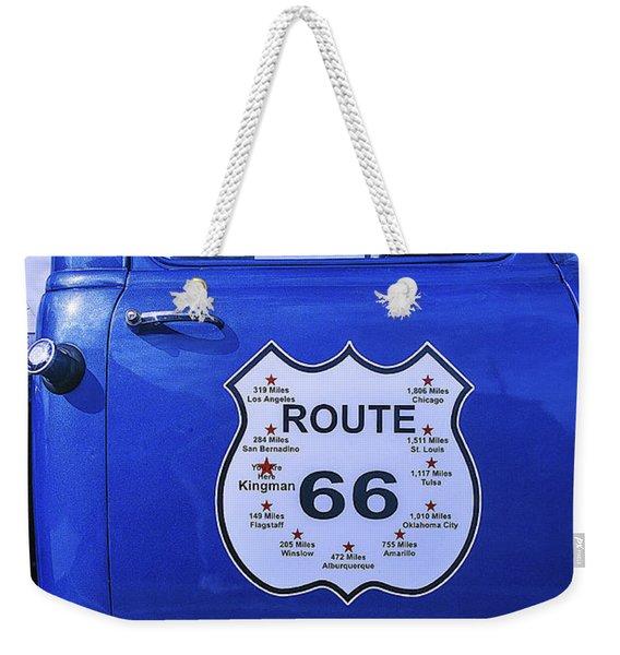 Route 66 Blue Truck Weekender Tote Bag