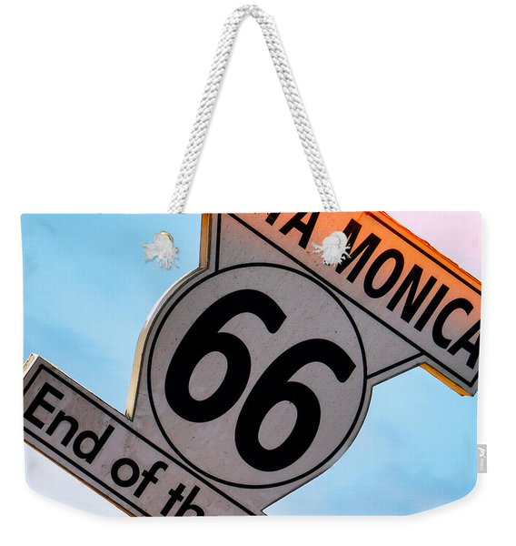 Route 66 End Of The Trail Weekender Tote Bag