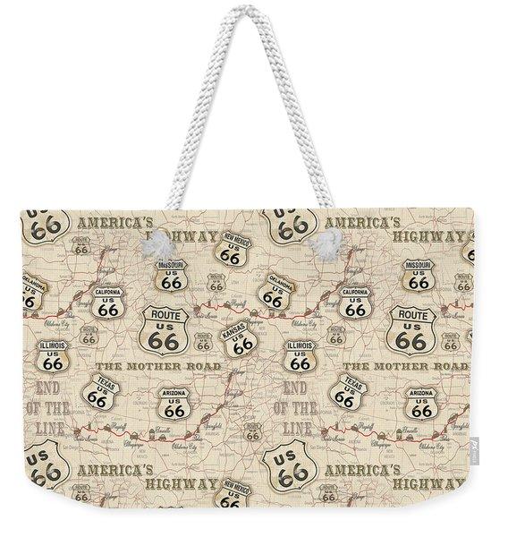 Route 66 Map-jp3960-b Weekender Tote Bag