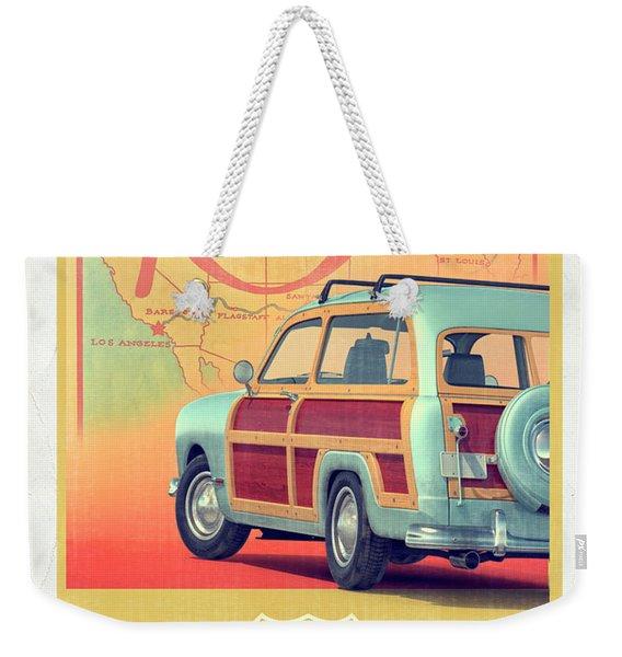 Route 66 Vintage Postcard Weekender Tote Bag