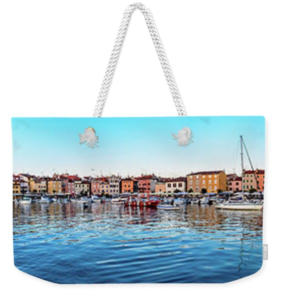 Rovinj Harbor And Boats Panorama Weekender Tote Bag