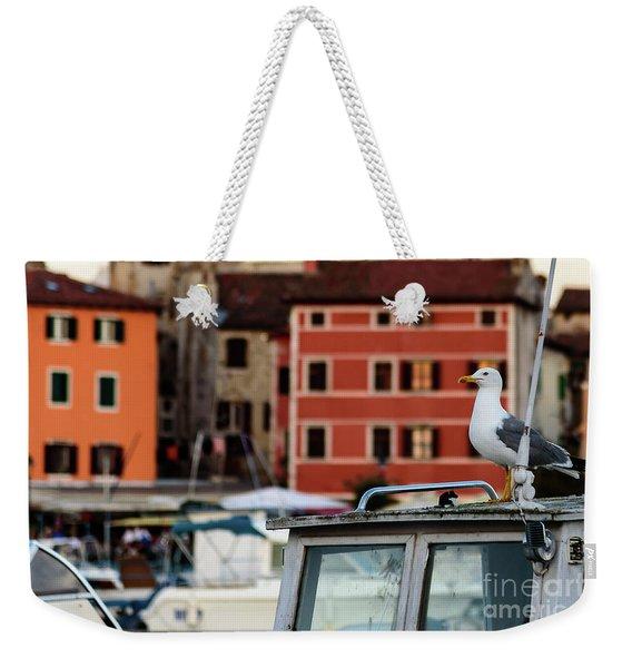 Rovinj Harbor Seagull - Rovinj, Istria, Croatia Weekender Tote Bag