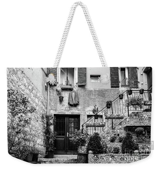 Rovinj Old Town Courtyard In Black And White, Rovinj Croatia Weekender Tote Bag