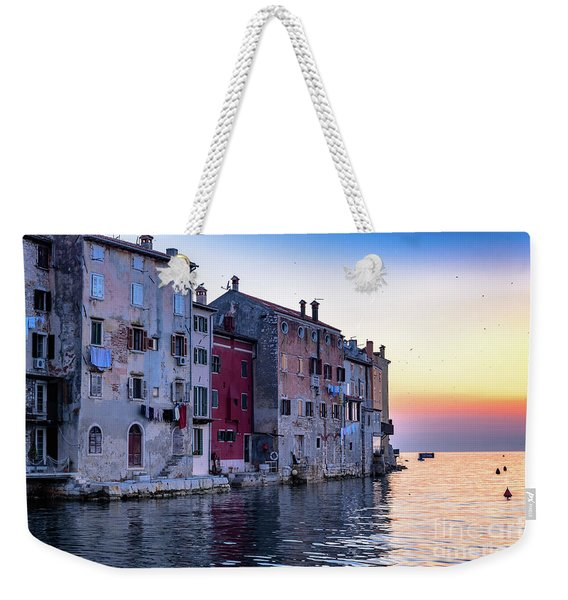 Rovinj Old Town On The Adriatic At Sunset Weekender Tote Bag