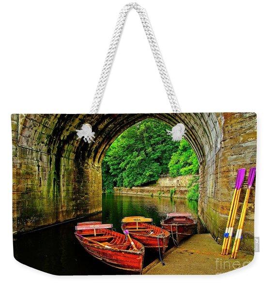 Rowing Boats In Durham City Weekender Tote Bag