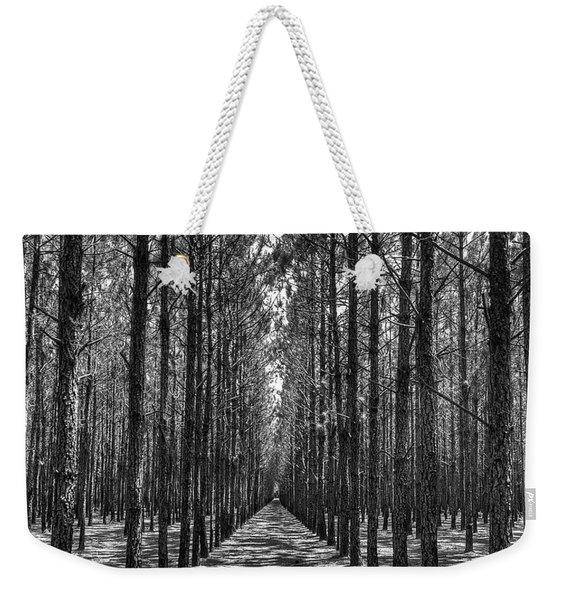 Rows Of Pines Vertical Weekender Tote Bag