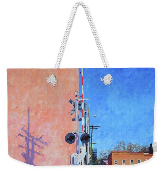 Rr Crossing At The Pink Warehouse Weekender Tote Bag