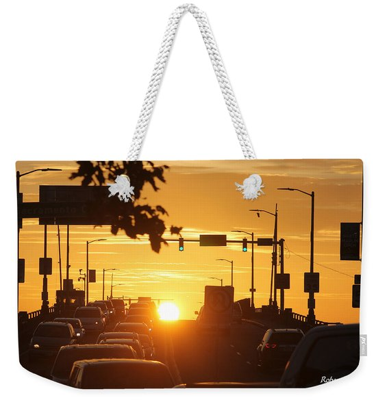 Rte 50 Bridge At Sunset Weekender Tote Bag