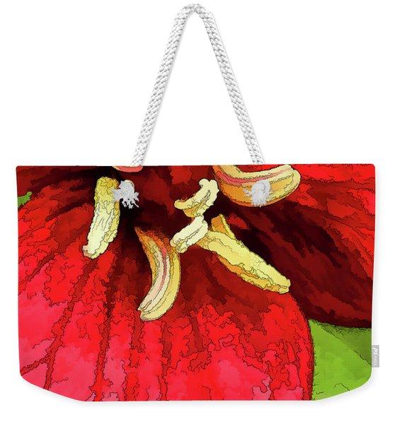 Ruby Red Trillium Weekender Tote Bag