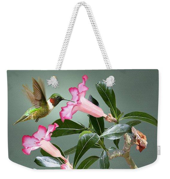 Ruby-throated Hummingbird And Desert Rose Weekender Tote Bag