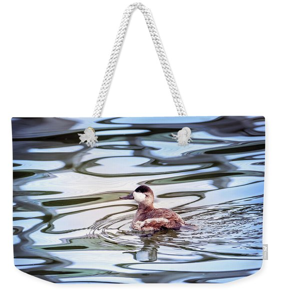 Ruddy Duck Swiimming In A Pond With Autumn Reflections Weekender Tote Bag