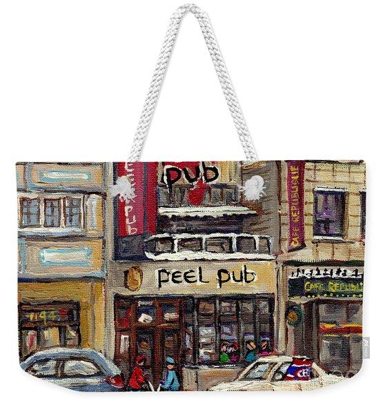 Rue Peel Montreal Winter Street Scene Paintings Peel Pub Cafe Republique Hockey Scenes Canadian Art Weekender Tote Bag