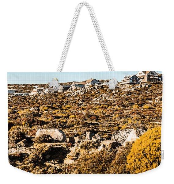 Rugged Mountain Town Weekender Tote Bag