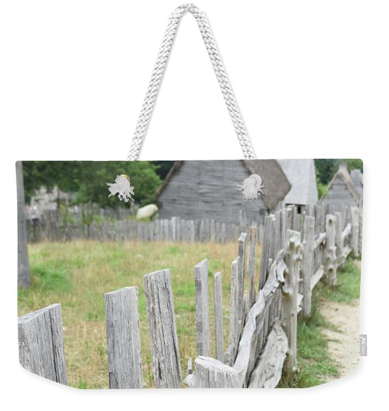 Rugged Wooden Fence In Plimoth Plantation A Colonial Village Weekender Tote Bag