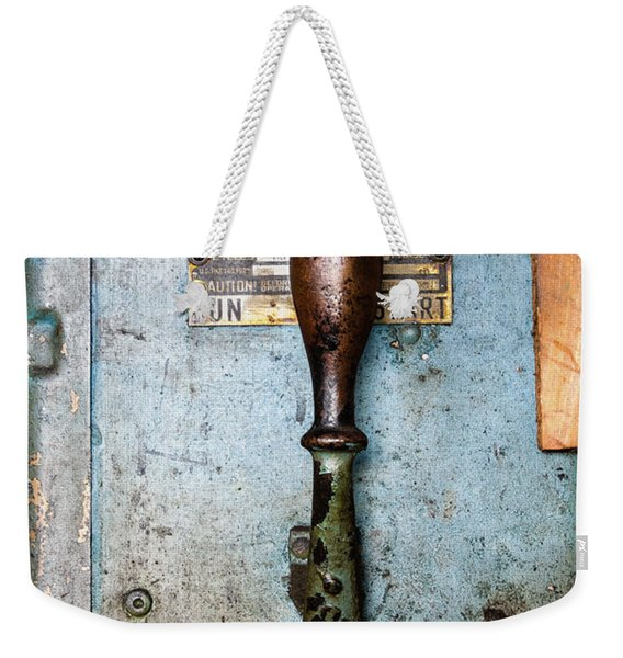 Weekender Tote Bag featuring the photograph Run  Off  Start Portland Company Building Portland Me  -24631 by John Bald
