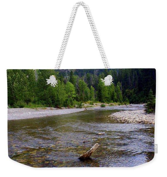 Running Eagle Creek Glacier National Park Weekender Tote Bag
