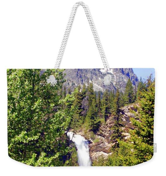 Running Eagle Falls Glacier National Park Weekender Tote Bag